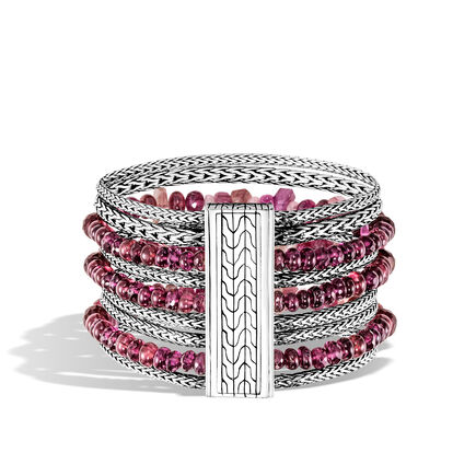 Classic Chain Multi Row Bracelet in Silver with Gemstone