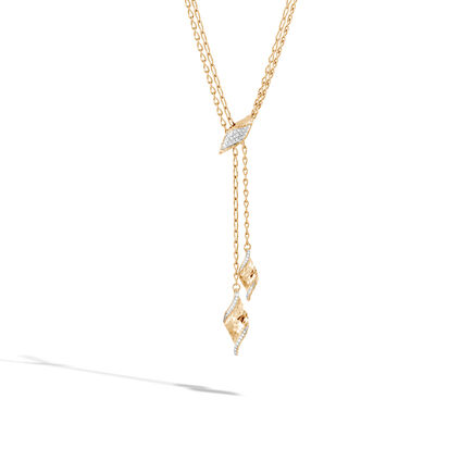 Classic Chain Wave Lariat Necklace, Hammered 18K, Diamonds