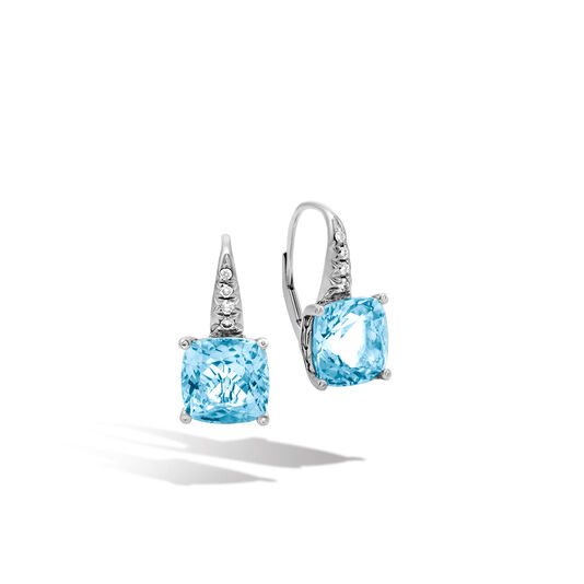 Classic Chain Magic Cut Drop Earring, Silver, Gems, Diamonds, Swiss Blue Topaz, large