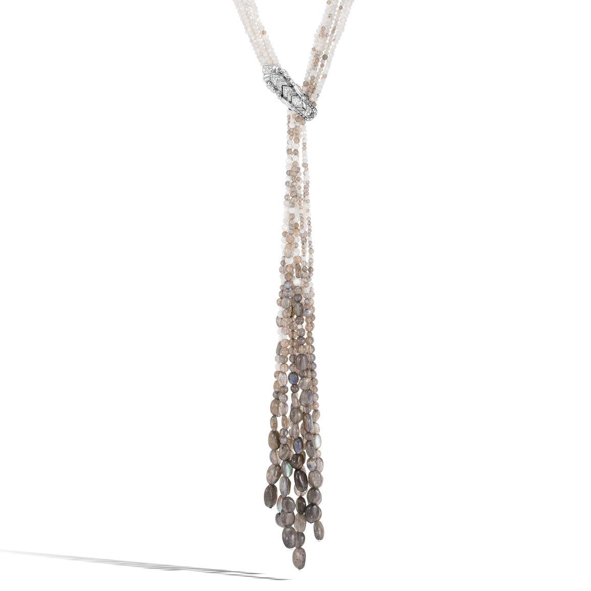 Legends Naga Lariat Necklace in Silver, Gemstone, Diamonds