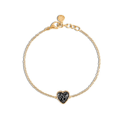Classic Chain Heart Station Bracelet in 18K Gold with Gemstone
