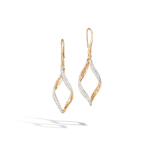 Classic Chain Wave Drop Earring in 18K Gold with Diamonds, White Diamond, large
