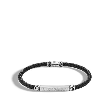 Chain 4MM Station Bracelet in Silver, Leather, Diamonds