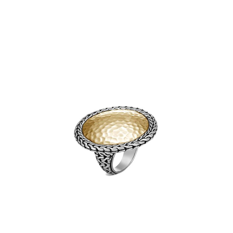 Classic Chain Round Ring in Silver and Hammered 18K Gold, , large