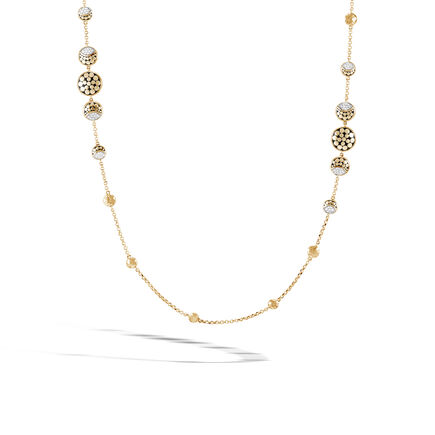 Dot Moon Phase Station Necklace, Hammered 18K Gold, Diamonds