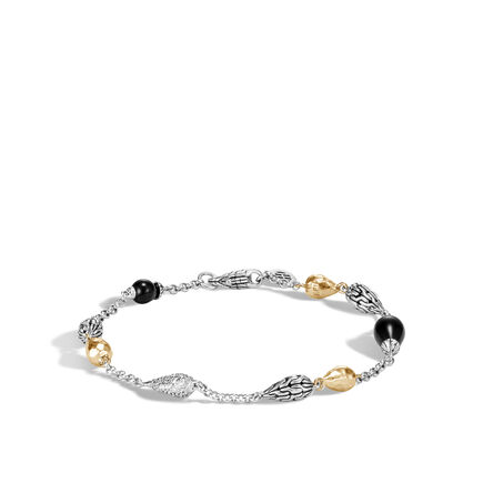 Classic Chain Bracelet, Silver, Hammered 18K Gold, Gem, Dia