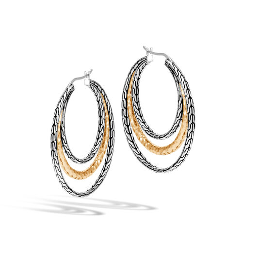 Classic Chain Medium Hoop Earring Silver, Hammered 18K Gold, , large