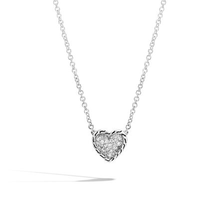 Classic Chain Heart Necklace in Silver with Diamonds