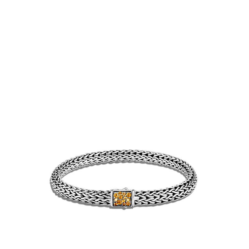 Classic Chain Reversible 6.5MM Bracelet in Silver with Diamonds, Citrine, large