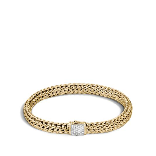 Classic Chain 6.5MM Bracelet in 18K Gold with Diamonds, White Diamond, large