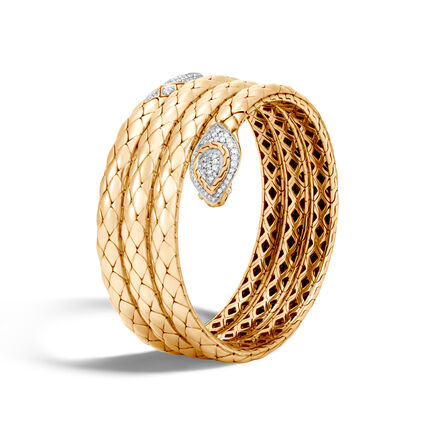 Legends Cobra Coil Bracelet in 18K Gold with Diamonds