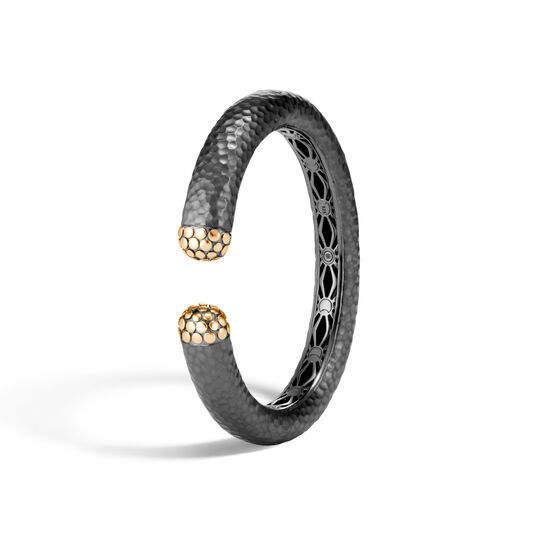 Dot 12MM Kick Cuff, Blackened Hammered Silver and 18K Gold, , large
