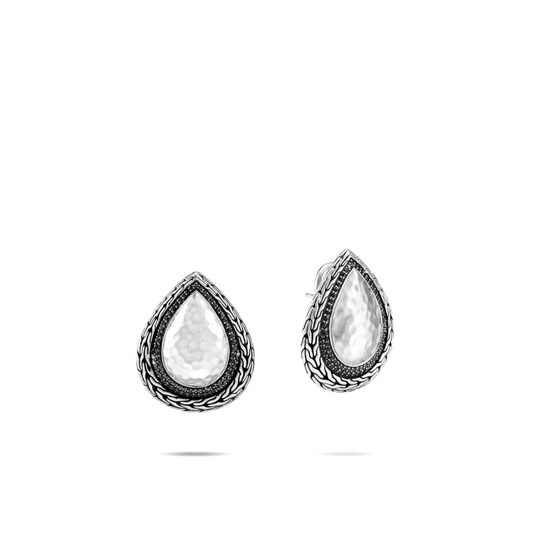 Classic Chain Earring in Hammered Silver with Gemstone