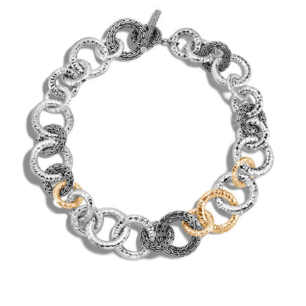 Classic Chain 29.5MM Link Necklace in Silver, Hammered Gold