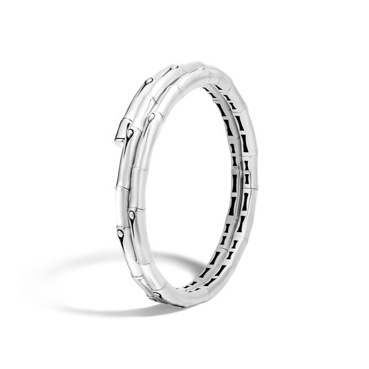 Bamboo Double Coil Bracelet in Silver, , large