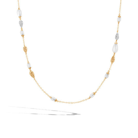 Classic Chain Station Necklace in 18K, Gemstones, Diamonds, White Moonstone, large