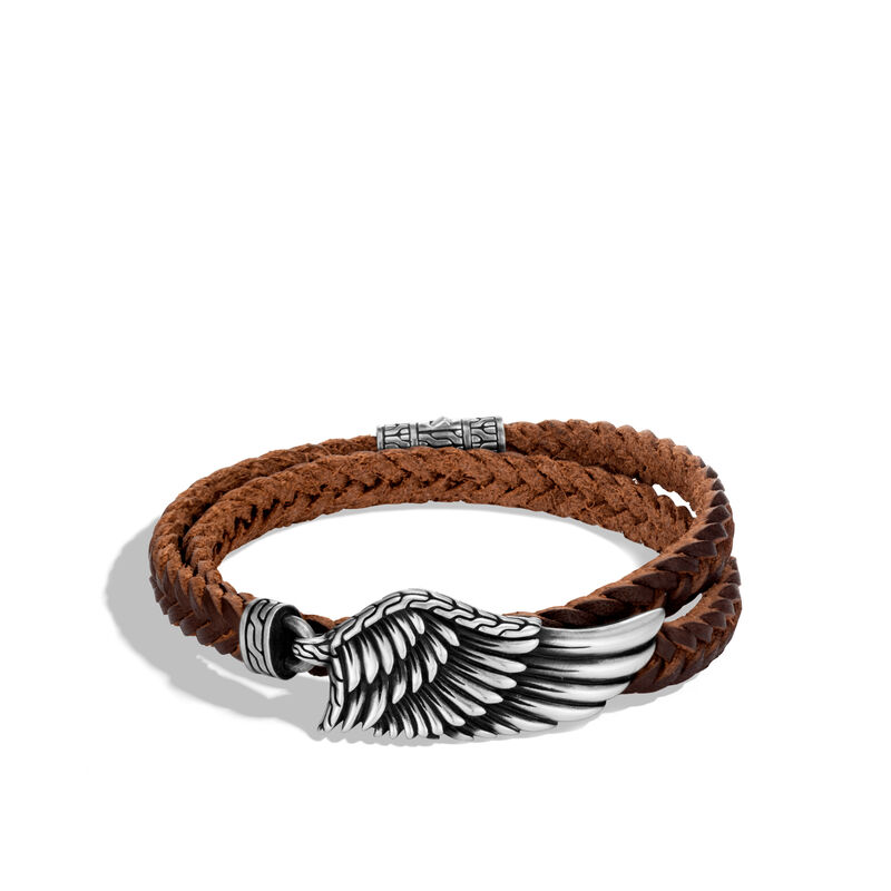 49d738aaa0f36 Legends Eagle Wrap Bracelet in Silver with Leather