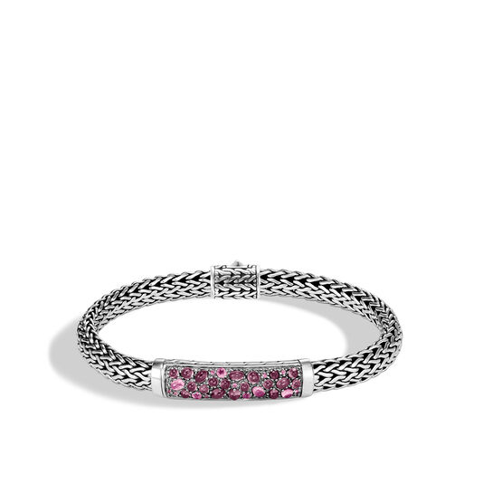 Classic Chain 6.5MM Station Bracelet in Silver with Gemstone, Pink Tourmaline, large