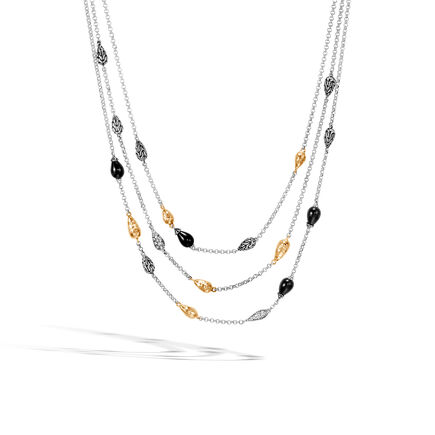 Classic Chain Necklace in Silver, Hammered 18K Gold, Gem, Dia