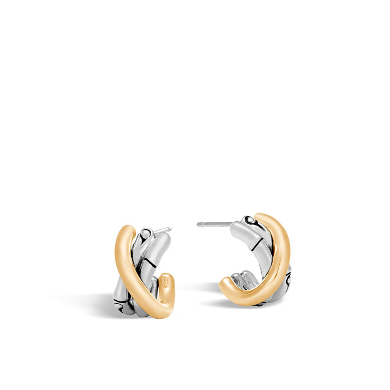 Bamboo Small J Hoop Earring In Silver And 18k Gold Large