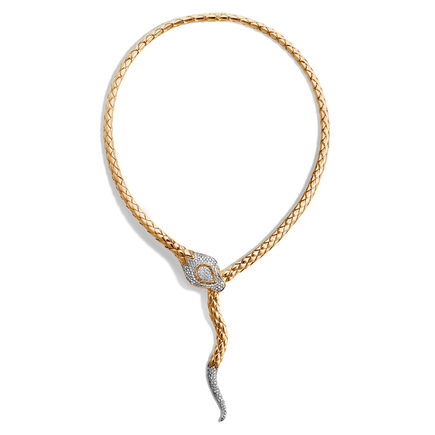 Legends Cobra Necklace in 18K Gold with Diamonds