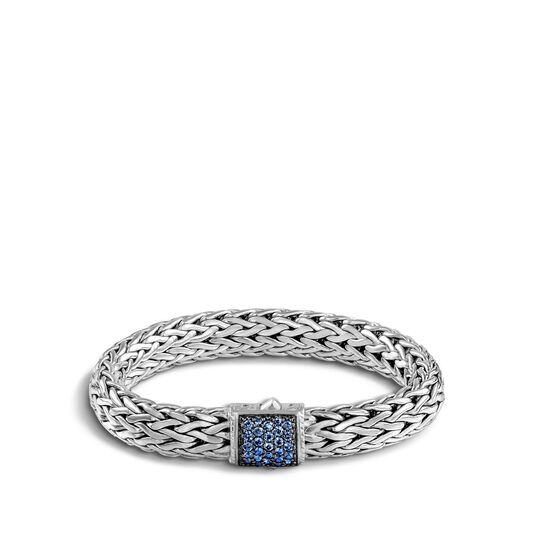Classic Chain 10.5MM Bracelet in Silver with Gemstone, Blue Sapphire, large