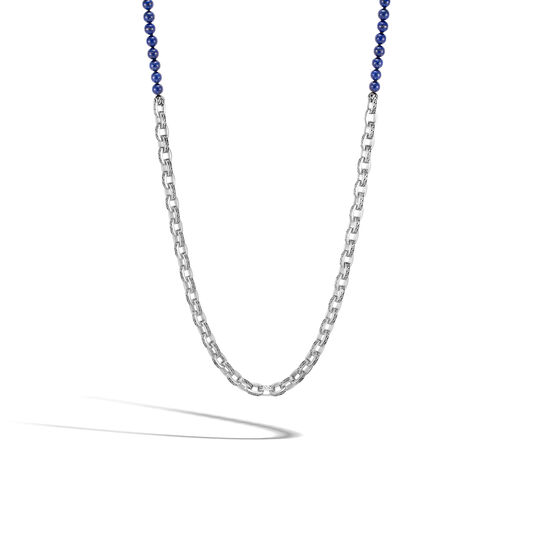 Classic Chain Link Necklace in Silver with 6MM Gemstone, Lapis Lazuli, large