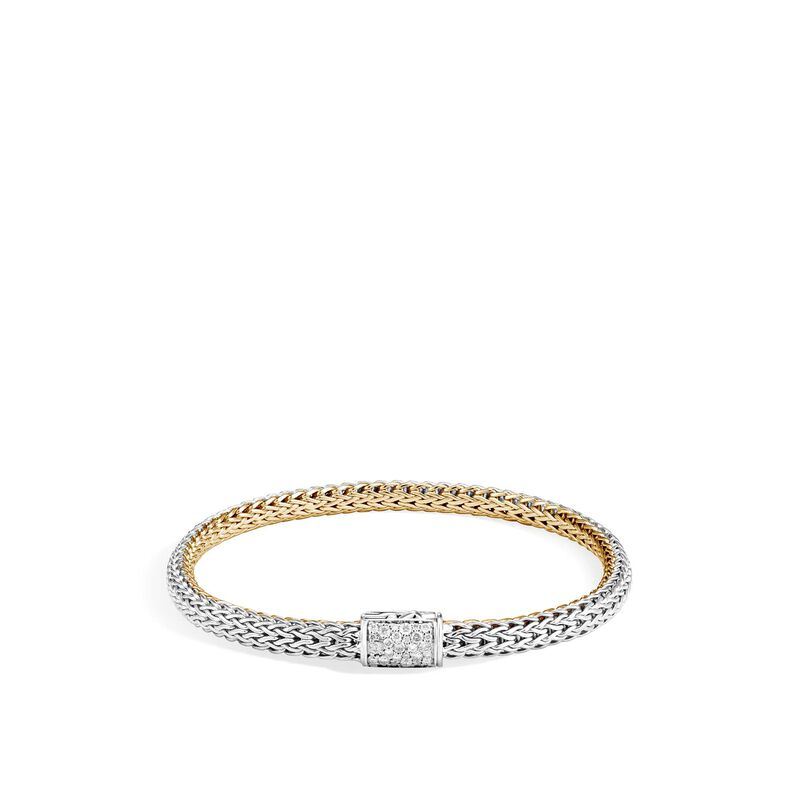 Reversible 5MM Bracelet in Silver and 18K Gold with Diamond, , large