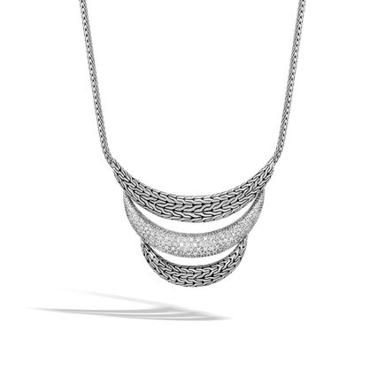 Classic Chain Bib Necklace in Silver with Diamonds