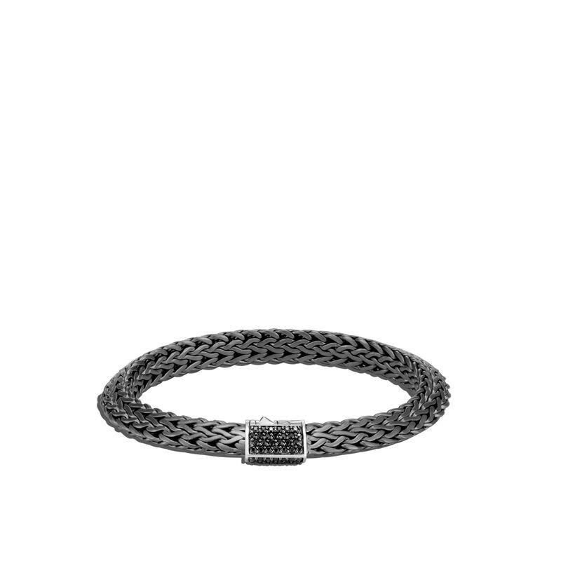 Tiga Classic Chain 8MM Bracelet, Blackened Silver, Treated Black Sapphire, large