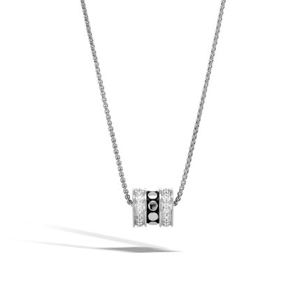 Dot Pendant Necklace in Silver with Diamonds