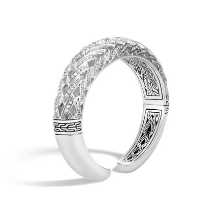 Classic Chain 14.5MM Graduated Kick Cuff in Silver, Diamonds