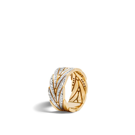 Modern Chain 8.5MM Band Ring in 18K Gold with Diamonds, White Diamond, large