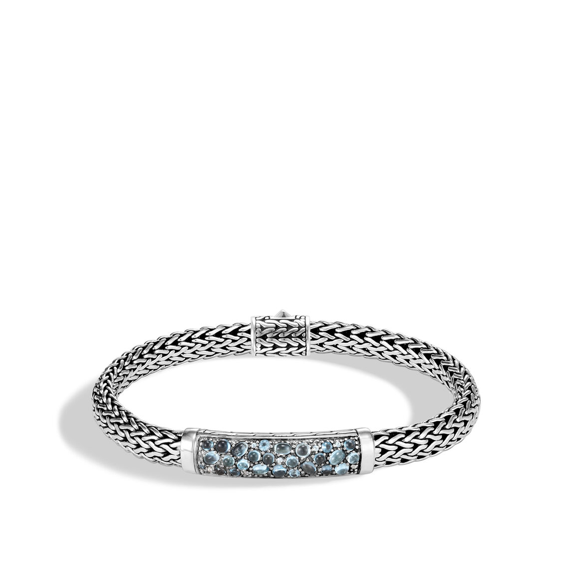 Classic Chain 6.5MM Station Bracelet in Silver with Gemstone