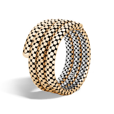 Dot Triple Coil Bracelet in Silver and 18K Gold