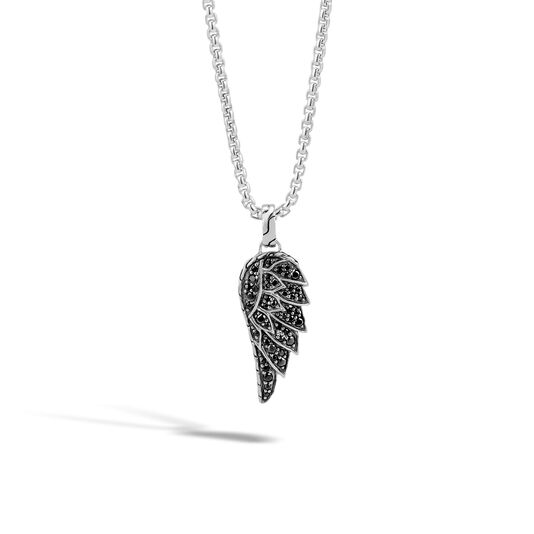 Legends Eagle Pendant Necklace in Silver with Gemstone, Black Sapphire, large