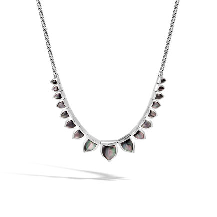 Legends Naga Bib Necklace in Silver with Gemstone