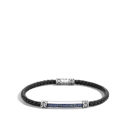 Classic Chain 4MM Station Bracelet, Silver, Leather, Gems, Blue Sapphire, large