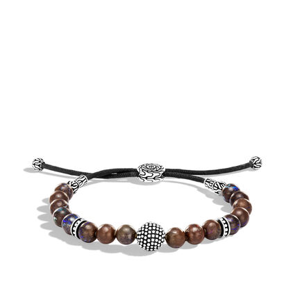 Chain Jawan Pull Through Bead Bracelet in Silver, 8MM Gems