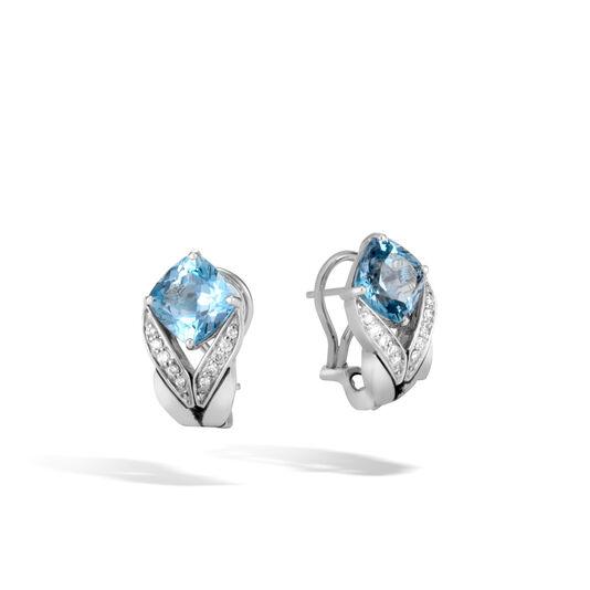 Modern Chain Magic Cut Earring in Silver, Gemstone and Dia, London Blue Topaz, large