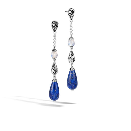 Classic Chain Drop Earring in Silver with Gemstone , Lapis Lazuli, large