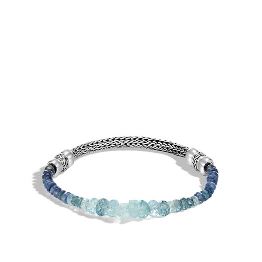 Classic Chain 5MM Bracelet in Silver with Gemstone, Aquamarine, large
