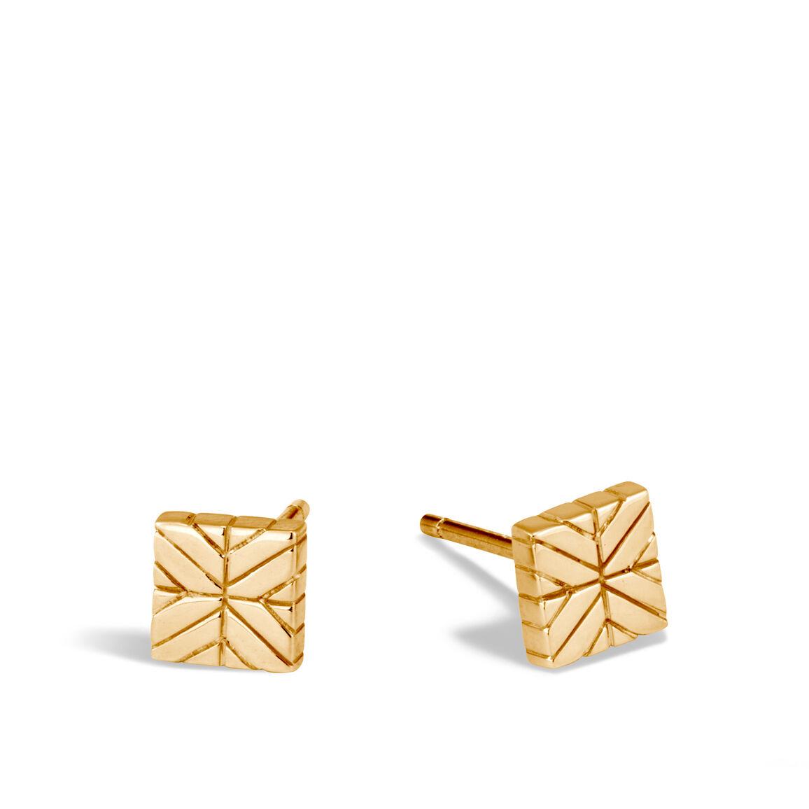 Modern Chain Stud Earring in 18K Gold