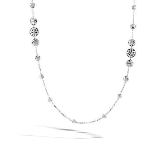 Dot Moon Phase Station Necklace in Hammered Silver, , large