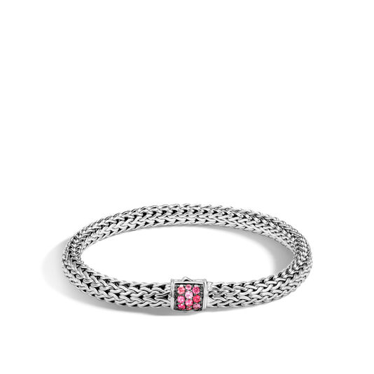 Classic Chain 6.5MM Bracelet in Silver with Gemstone, Red Spinel, large