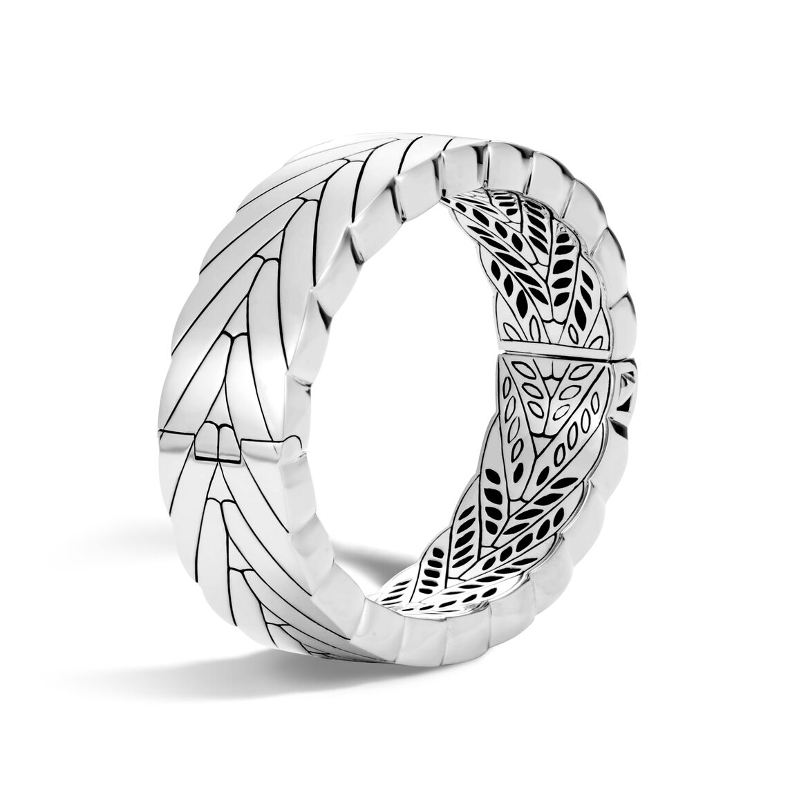 Modern Chain 17.5MM Hinged Bangle in Silver