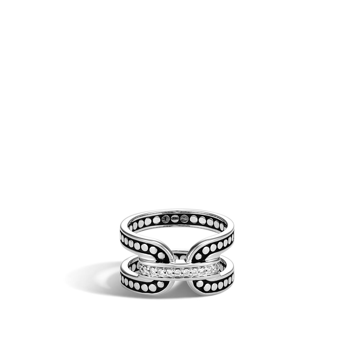 Dot 105mm Band Ring In Silver With Diamonds