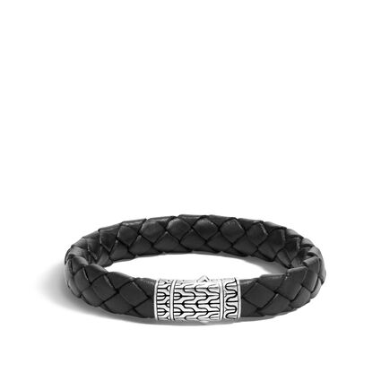 Clic Chain 12mm Station Bracelet In Silver And Leather