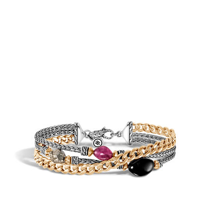 AAxJH Classic Chain Triple Row Bracelet in Silver, 18K Gold with Gem