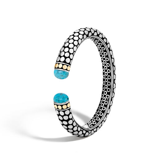 Dot 11MM Kick Cuff in Silver and 18K Gold with Gemstone, Natural Arizona Turquoise, large